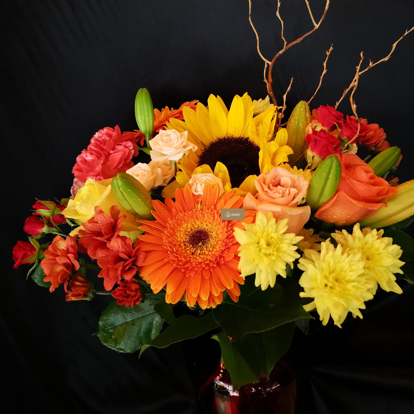 Fall Color Flower Mixture In Vase With Lilies Roses Sunflowers Gerbra Carnations And Daisy Fashion Flowers